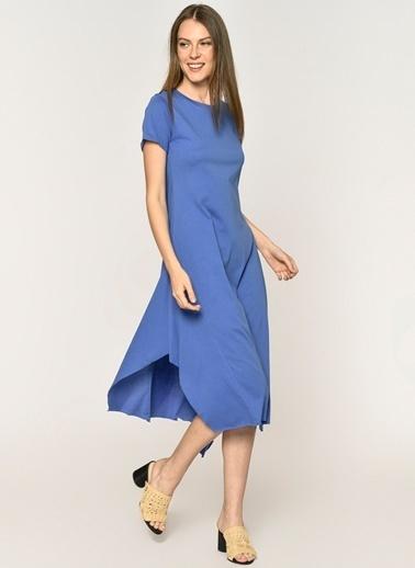 Loves You Asimetrik Kesim Yırtmaçlı Supreme Elbise Saks